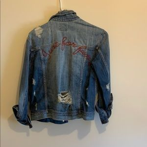 AE NWT distressed denim embroidered jacket